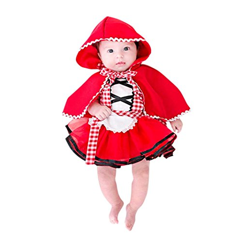 FNKDOR Baby Mädchen Plaid Tutu Spitzenkleid mit Kapuze Mantel Outfits Set Kostüme zu Fasching (12 Monate, Rot)