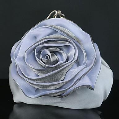 WZW Donna Sacchetti Per tutte le stagioni Seta Clutch Pochette con Fantasia floreale per Matrimonio Serata/evento Casual Formale Argento . silver silver