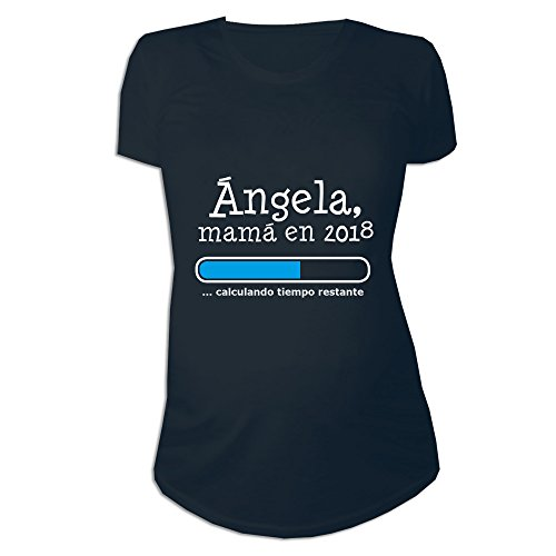 Calledelregalo Regalo Personalizable para Mujeres Embarazadas: Camiseta 'Futura Mamá' Personalizada con su Nombre y Año (Negro)