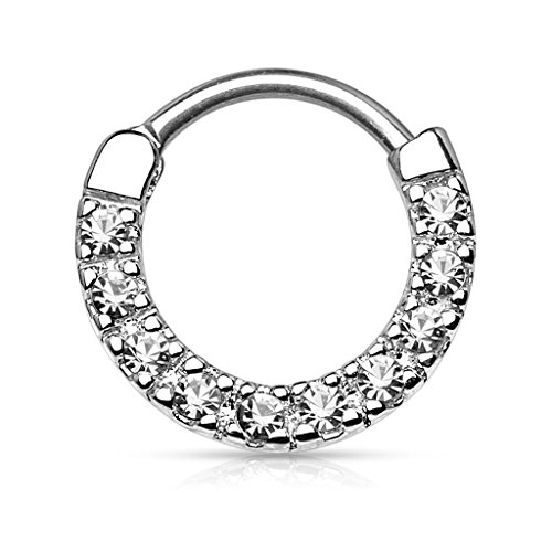 Gekko Body Jewellery Septum Clicker Nose Daith with Ten Paved Clear Gems