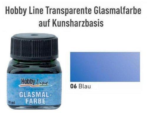HOBBY LINE Glasmalfarbe transparent auf Kunstharzbasis Blau Gl.20 ml