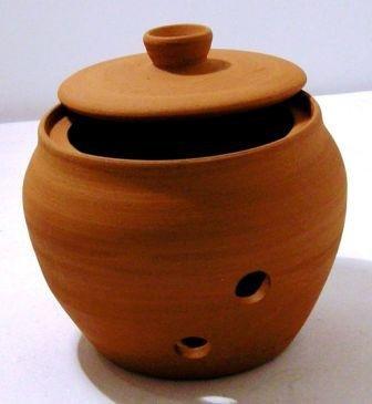 Knoblauchtopf - Terracotta - handgefertigt - Ø 9 cm - 9 cm hoch - rund