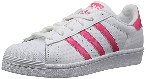 adidas Originals Unisex-Kids Superstar J, White/Real Pink/White, 4.5 M US Big Kid