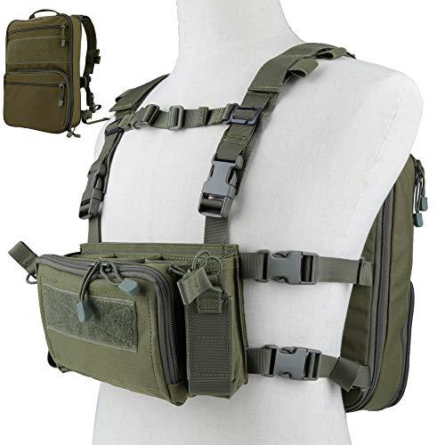 DETECH Taktische Weste Airsoft Ammo Chest Rig 5.56 9mm Zeitschriftenträger mit Molle Flatpack Rucksack