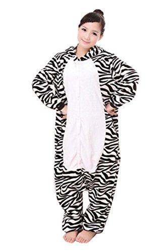 Imagen de feoya  ropa de dormir franela disfraz de animal cebra franela siameses pijama encapuchado unisex  cebra l
