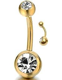 Oro Acero Quirúrgico Joyas para el Cuerpo Piercing Ombligo Vientre Botón Anillo Barbells con Circonio Cúbico