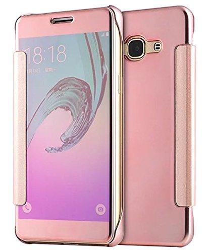 Preisvergleich Produktbild Flip Case TPU+PC ISENPENK Samsung Galaxy J3(2016)/J320/J3(2016) Duos Hülle Leder [Rosa],Muster Mirror Samsung Galaxy J3(2016)/J320/J3(2016) Duos Hülle Transparent Durchsichtig Tasche Handyhülle Lederhülle 2-in-1 Bookstyle Geldbörse Tasche Schutzhülle