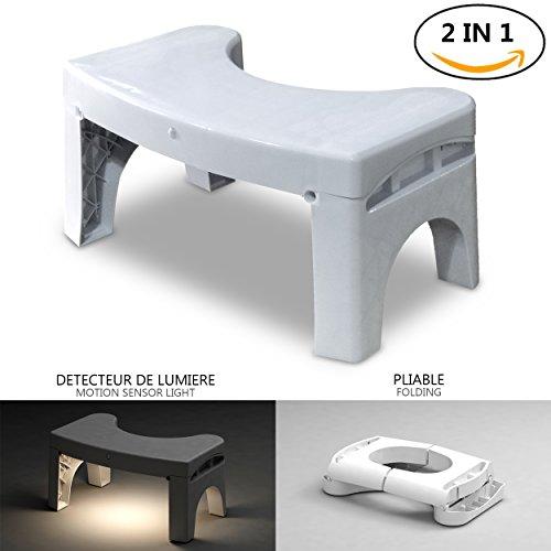 Potty accovacciata Sgabello da bagno accovacciato con luce sensore di movimento Sgabello Step da bagno con luce notturna attivata da movimento Posizione corretta della toilette per risultati più sani