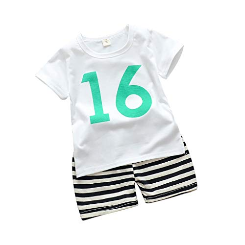 Alwayswin Baby Junge Weste Camouflage Short Kleidung Sets Ärmellos Nummer Muster T-Shirt Mode Cool Shorts Outfits Set Sport-Outfit Sommer Outdoor Strand Babykleidung