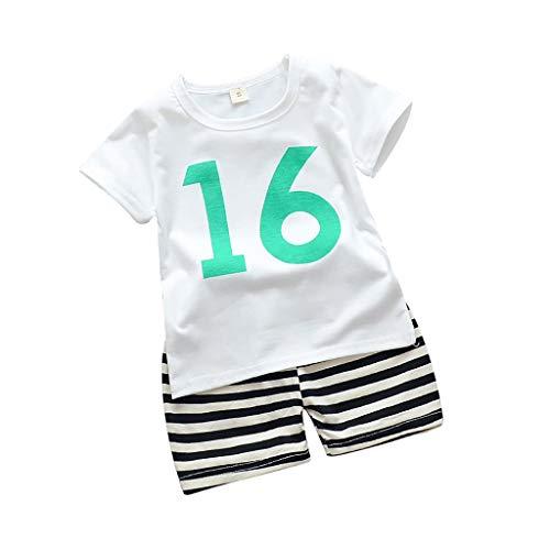 Alwayswin Baby Junge Weste Camouflage Short Kleidung Sets Ärmellos Nummer Muster T-Shirt Mode Cool Shorts Outfits Set Sport-Outfit Sommer Outdoor Strand Babykleidung (Twin-halloween-kostüm-ideen Mädchen Junge)
