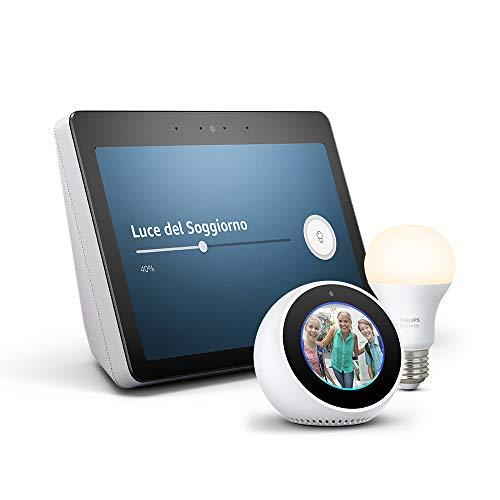 """Echo Show (2ª generazione) – Audio di ottima qualità e brillante schermo HD da 10"""" – Bianco + Lampadina Philips Hue White + Echo Spot – Bianco"""