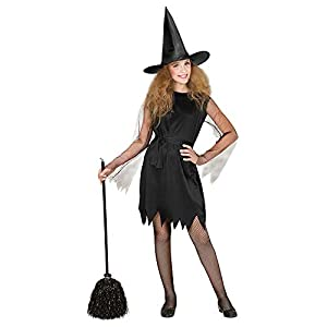 WIDMANN- Bruja con Sombrero Disfraz para niño, Color Negro, S (00246)