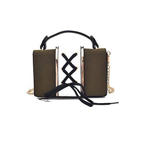 Otomoll Farbe Fashion Handtasche Schräge Schulter Tasche Kette Kleine Tasche Satchel Bag All-Match Dark Green