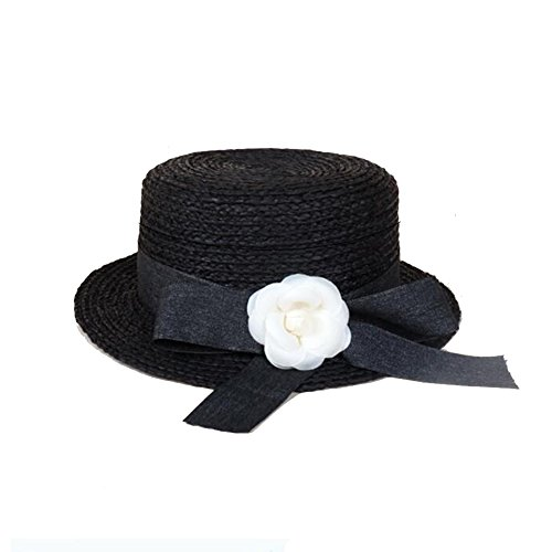Sunny Honey Cap Frauen-Strohhut Flat Top Bowler Schwarz Einstellbare Bow-Knoten