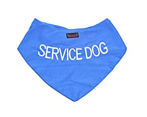 Service pour chien Bandana bleu pour chien personnalisé qualité Message brodé. Accessoire de mode écharpe cou. Prévient les accidents par Avertissement Autres de Votre chien en Advance