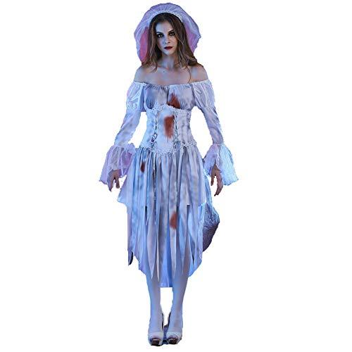 PAOFU-Geisterbraut-Halloween-Kostüm für Erwachsene,Zombie Corpse Bride Kleid Kostüm,Weiß,L (Zombie Corpse Bride Kostüm)