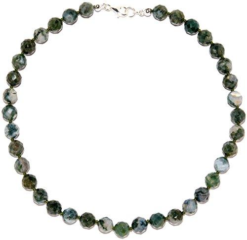 Achat Schmuck (Halskette) Moos-Achat Kette Verschluss 925er Sterling-Silber Modellnummer 5098 (Moos-achat Halskette)