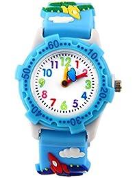 Analoge Kinderuhr für Jungen und Mädchen, süße wasserdichte Lernuhren für Kinder, 3D Kinderlernuhr Cartoon-Armbanduhr für Kleinkinder, das beste Geschenk für Kinder blaues Flugzeug – von ARPDJK