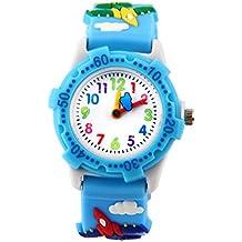 Kids Analogue Watch for Boys Girls, Cute Waterproof Childs Teaching Toy Watches, 3d Time Teacher Wrist Todder Cartoon Watch, Best Gift for Childrens - blue plane by ARPDJK