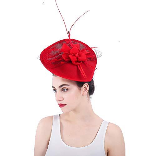 r Blume NetzmüTze Feder Mesh Netz Schleier Tea Party Derby Hut Mit Clip Und Haarband FüR Frauen,Red ()