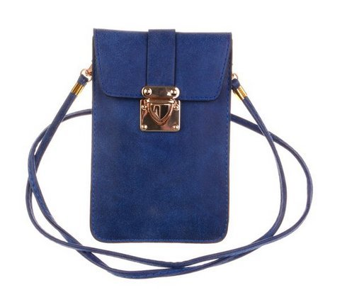 KISS GOLD (TM) Luxus matte PU Leder Schultertasche Hanytasche Mini Crossbody Bag Blau (Nylon Satchel Leder)