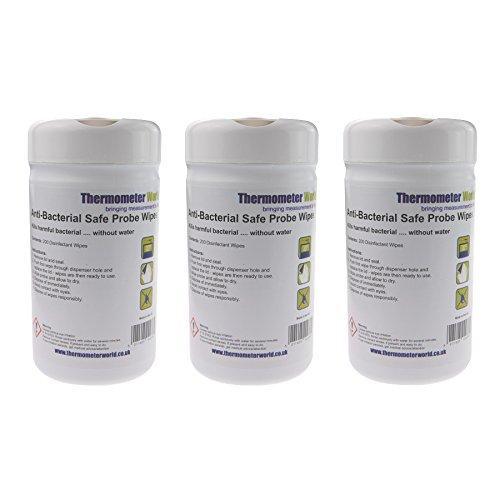 Antibacteriano seguro toallitas de sonda–3x botes de 200cada | desinfectante toallitas limpiadoras para sondas de temperatura termómetro, azul 13cm x 13cm)
