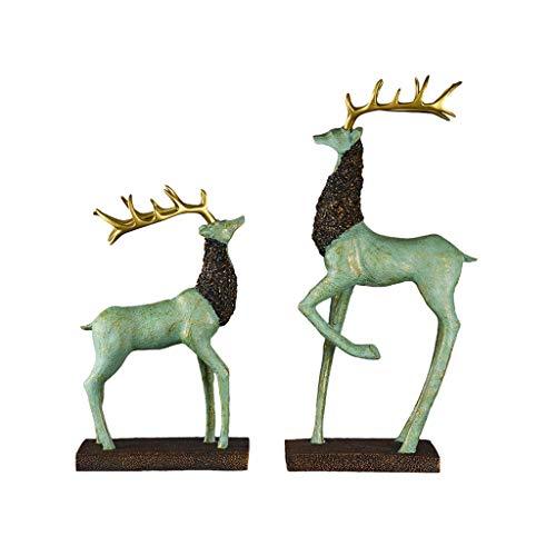 Zhizaibide Geschenk Ornament Dekoration Wohnzimmer Kreative Harz Dekoration Deer Modell Skulptur Dekoration Handwerk (Color : Green, Size : M)