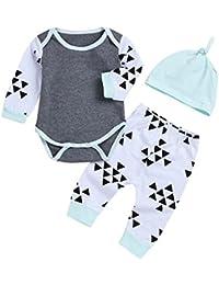 Ropa Bebe niña Invierno de 3 a 6 Meses,(6M-24M) bebé Traje de Manga Larga triángulo de impresión + pantalón + Sombrero,Gris,70,80,90,100