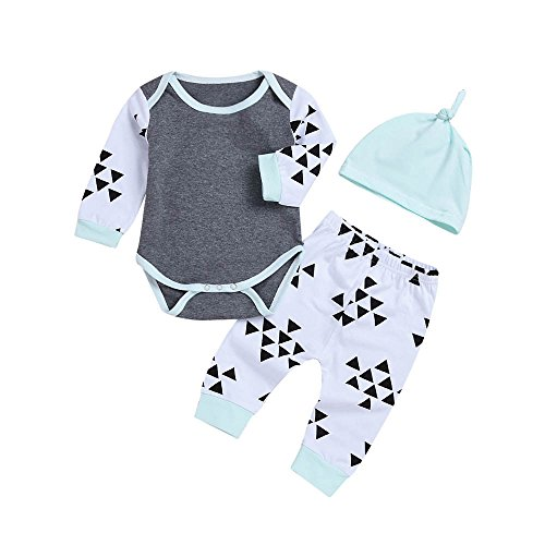 Long Sleeve Print Romper (bobo4818 Neugeborenes Baby Print Long Sleeves Romper + Pants + Stirnband Kinder Kleidung Outfits Sets für 0,5-2 Jahre (6M, Gray))