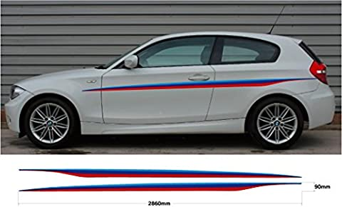 BMW 1 Series M Sport Car decal graphic side stripes E87 E88 F20 F21 E81 E82 (SS20023)