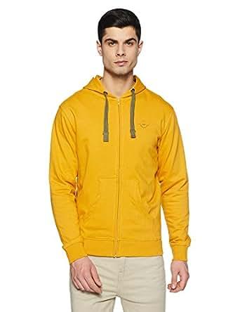 Wrangler Men's Cotton Sweatshirt (8907649214381_W248025GC256_S_Mustard)