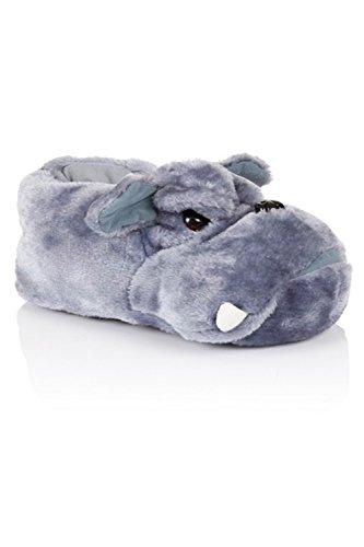Plüschhausschuhe für Herren / Damen / Jungen / Mädchen; Design: Affengesicht / Wolfsgesicht / Monsterkralle; Weihnachtsgeschenk; Größe 40-47 (UK 7-12) Grau Bulldog