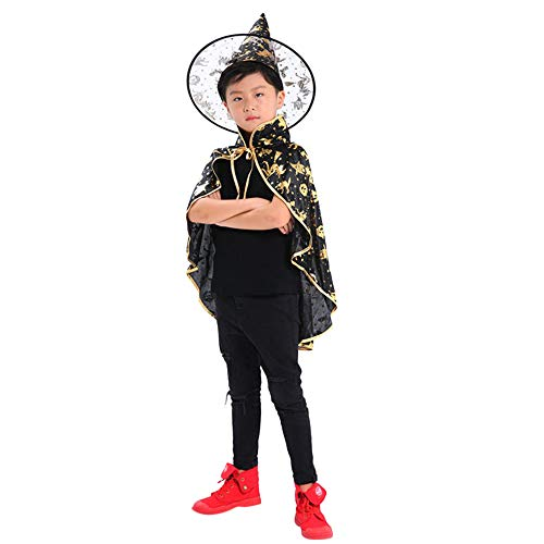 (SEWORLD Kinder Erwachsene Kinder Halloween Baby Kostüm Zauberer Hexe Mantel Cape Robe + Hat Set)