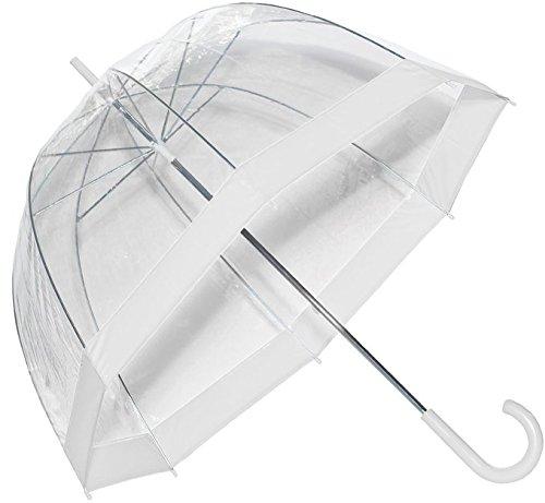 Paraguas burbuja, transparente con ribete blanco