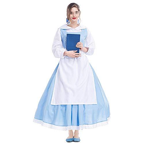 Spezieller Entwurf Persönlichkeit Frauen Vintage Hohe Taille Kleider Halloween Retro Kleid Kleid Party Cosplay Kleider (Color : Blue, Size : S)