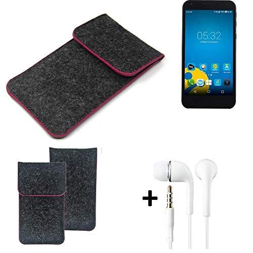 K-S-Trade® Filz Schutz Hülle Für -Vestel 5000 Dual-SIM- Schutzhülle Filztasche Pouch Tasche Handyhülle Filzhülle Dunkelgrau Rosa Rand + Kopfhörer