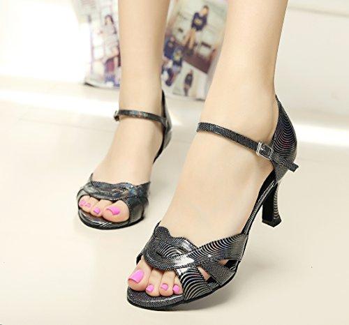 Minitoo da donna nuovo tracolla singola floreale Flare Latin Dance scarpe Black