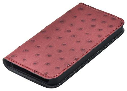 Tellur TLL119793 Magnetisch Brieftasche für Apple iPhone 5/5S/SE, Straußenleder rot (Rote Straußenleder)