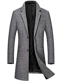 Sliktaa Manteau Laine Homme Long Trench Coat Hivers Chaud Slim Manches  Longues Affaires Casual A La be6c62c739c
