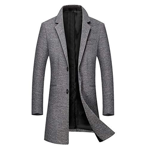Herren Mantel Einreiher Wolle Lässige Reverskragen Windbreaker Jacke Wollmantel Slim Jacke Grau Small