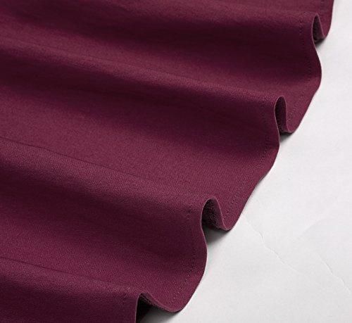 Belle Poque Damen Petticoat Kleid 50s Vintage Retro Rockabilly Kleid Swing Kleid BP210 BP210-2(Weinrot)
