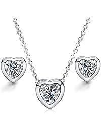 Juego de Joyas - 925 plata esterlina plateado conjunto colgante de collar y pendientes corazón amor
