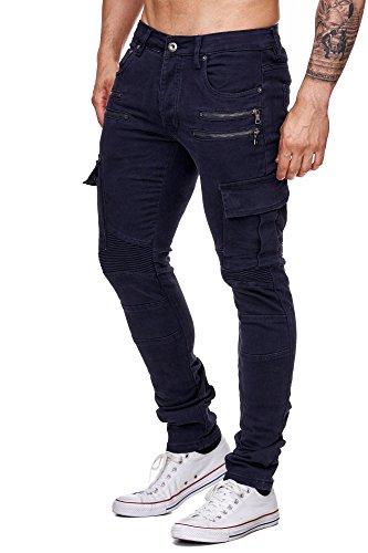 MEGASTYL Herren Biker Jeans Hose Cargo Taschen Stretch-Denim Slim Fit Oliv