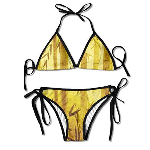 Bamboo Golden Forest Bikini Women's Summer Swimwear Triangle Top Bikinis Swimsuit Sexy 2-Piece Set -
