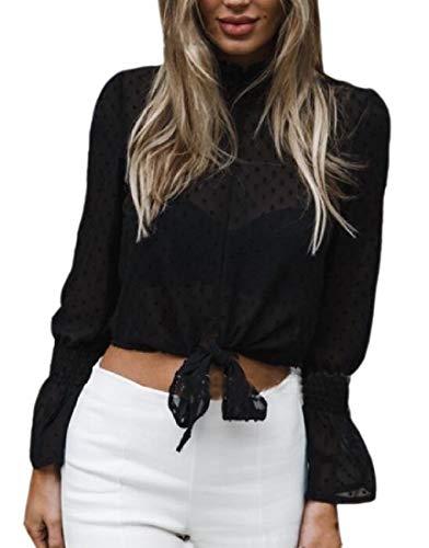 securiuu Womens Chiffon Floral Long Sleeve Short Bow Shirt Dot Print Top Blouse Black M -