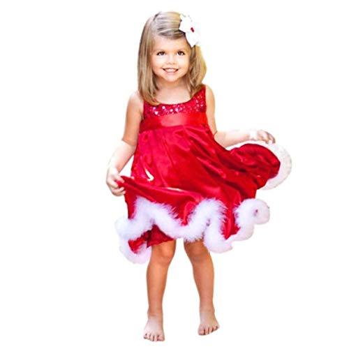 Cloom Weihnachten kleid Mädchen Kleid Pailletten Partykleider mit Gürtel Kinder Kleid Blusekleid Shirtkleid Baby Kleid Prinzessin Kostüm Kleid Mädchen Weihnachten Karneval Kostüm 1-6 Jahre (90)