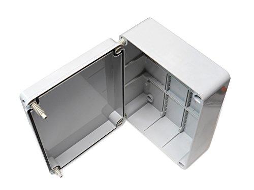 Abzweigdose, Deckel mit Scharnier (Tür 240 x 190 x 90 mm, wasserdicht, aus PVC Gehäuse, Schutzart IP56 für Außenbereich, Kunststoff, anpassbar, Elektrik-Anschluss