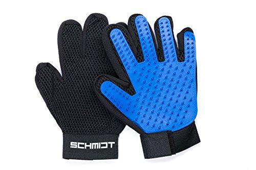 Schmidt Fellpflegehandschuh, 1 Paar Premium Massage Handschuhe mit justierbaren Klettverschluss und...