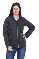 Trufit Full Sleeves Solid Womens Black Polyester Basic Casual Jacket