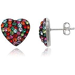 Pendientes Corazón Mujer Fashionvictime - Joya Plata De Rodio - Cristales Swarovski